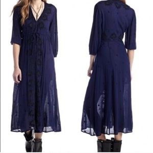 Free People Blue maxi embroidered dress size large